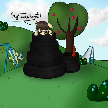 My little tire fort . Happy b-day sibsy by RodolfoMushi