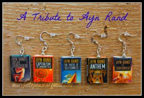 Ayn Rand Clay Mini Book Earrings by maryfaithpeace