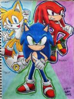 Modern Sonic, Tails, Knuckles by emichaca