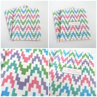 Set of 2 Colorful Zig Zag Design Blank Cards by crystaland