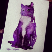 Purple Galaxy Cat by stardust12345