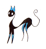 Blue Silhouette Cat 'Fluffed Out' by Ultralee0