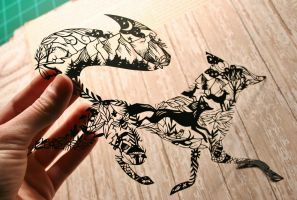Fox PAPER CUTTING by Snowboardleopard
