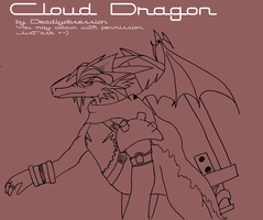 Cloud Dragon Strife Lineart by DeadlyObsession