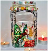 Green Fairy Candle Holder by Bonniemarie
