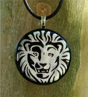 White Lion Fused Glass Pendant by FusedElegance
