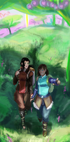 Korra and Asami Spirit World Adventure by EternalFusion