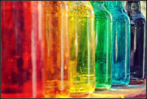 Rainbow Bottles II by Isika