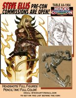 Heroes Commission Sketch Page For Conventions by Steve-Ellis