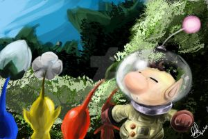 Olimar and Pikmins by kaiser-nagai