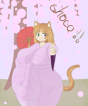 birthday present for pixiveo : Choco in a kimono by magicghostslime