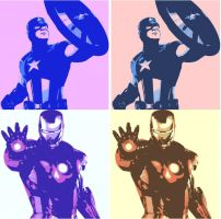 Captain America and Iron Man 4 Panel Pop Art by TheGreatDevin