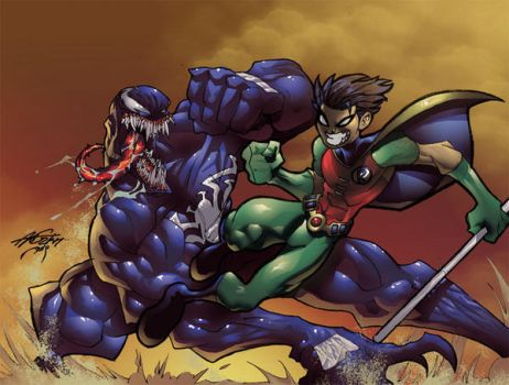 Robin vs Venom color by theFranchize