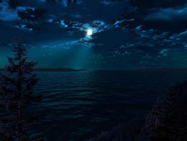 Moon over Pine Lake by esheafer