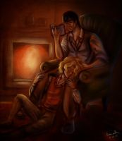 Cuddling near the fireplace by Fidi-s-Art