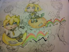 [AT] .:PaperChibi~Kagamine Twins:. by Husososo
