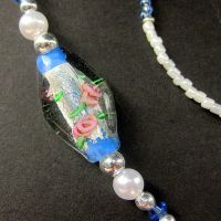Roses and Blue Badge Holder by Gilliauna