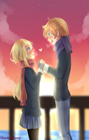 A couple in the sunset by Blooding424