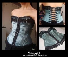 Blue Satin Corset by skinywitch