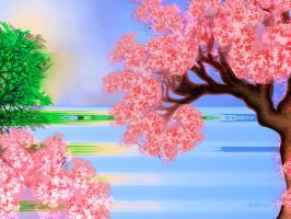 Cherry Blossom Lake by Shadoweddancer