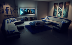 Facebook living room at night PS by slographic
