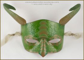 Scaled Ram's Horn Dragon mask, Green Bronzed by EirewolfCreations