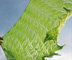 Hand knit shawl in lime green by NitkaAG