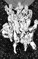 Lantern Corps inked..... by thelearningcurv