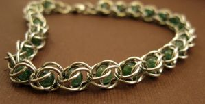 Maya - Chainmaille Cages Aventurine Bracelet by youvegotmaille