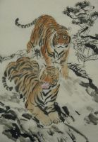 Tiger pair on mountain by phoenixfyre6967