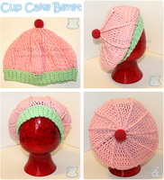 Slouchy Pink Icing Cup Cake Beret by moofestgirl