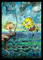 FlapJack and SpongeBob by AmokDreams