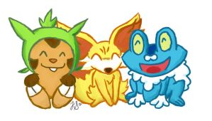 Gen VI Starters - Chespin, Fennekin, and Froakie by MissBezz