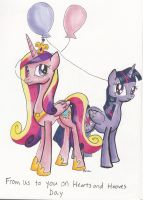 Cadance and Twilight Valentine by CatScratchPaper