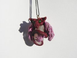 Rose Quarz Dragon Pendant by Creatures-of-Fae