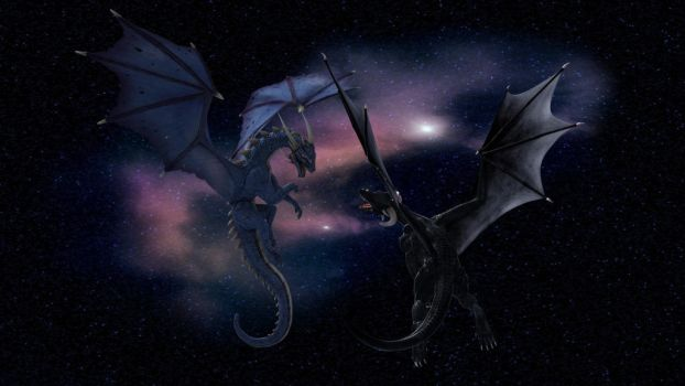 Cosmic Dragons by Weird-Black-Cat
