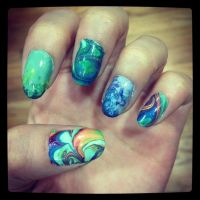 Rainbow Water Marble by MeltyMoon