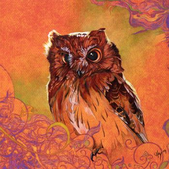 Owl in the Land of Orange by Novawuff