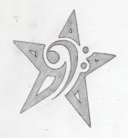 Bass Clef Star Tattoo by Dumaii