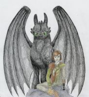 Toothless and Hiccup by copperagon