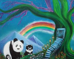 The Panda The Cat and The Rainbow by barbosaart