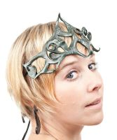 Intricate Featherlight Tooled Leather Crown by FeatheryLeathery