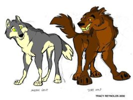 modern and dire wolves by Wolfdog27
