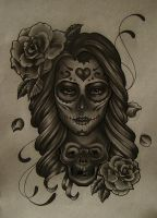 mexican girl skull by FraH