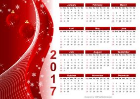 Red Christmas Calendar 2017 Vector by 123freevectors