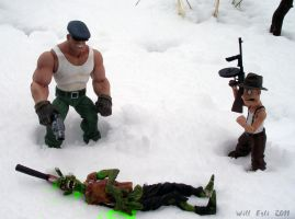 Goon and Frankie killin' Zombies in the snow by SurfTiki