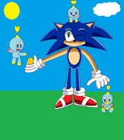 Contest Entry: Sonic hanging with his Chao buddies by Sonic33333