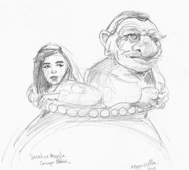 Sarah and Hoggle Sketch by TheInklingGirl