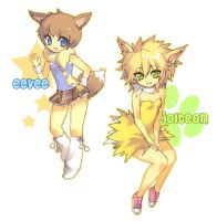 eevee + jolteon by einlee