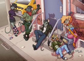 The Four Gangsters + One by eltonpot